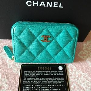 Chanel Zip O-Coin Purse in Turquoise